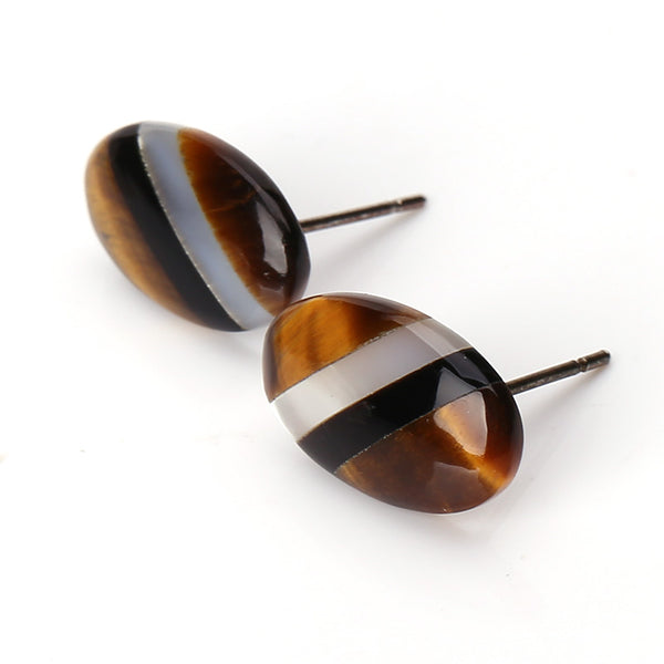 Oval Tiger-Eye, M.O.P and Obsidian Glued Stud Earrings, 15x9x3mm, 1.5g, Silver needle 12mm