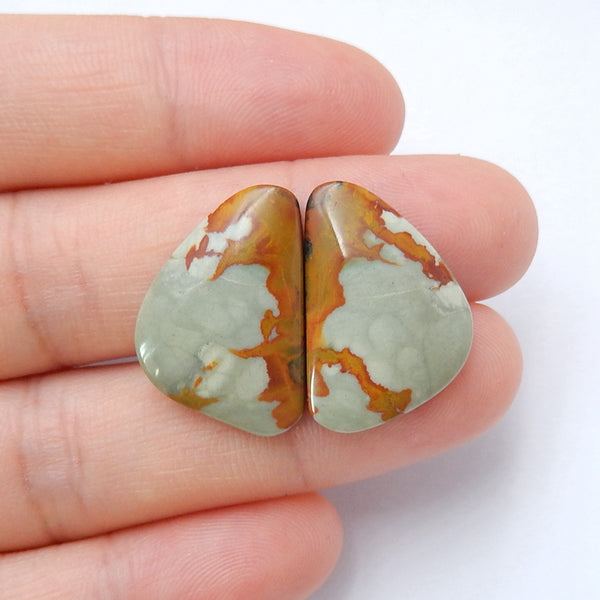 Natural Us Biggs Jasper Gemstone Cabochon pair, 21x14x4mm, 3.5g - MyGemGarden