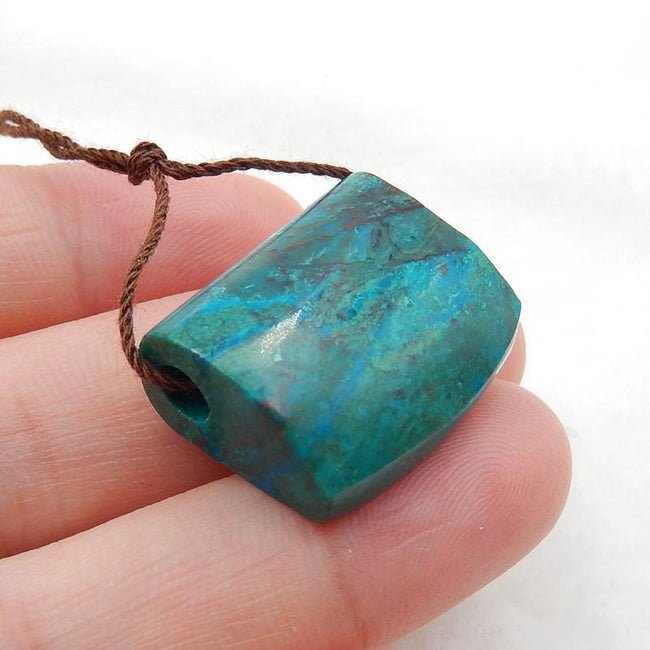 Chrysocolla Side Drilled Pendant Stone, 27x18x10mm, 6.7g