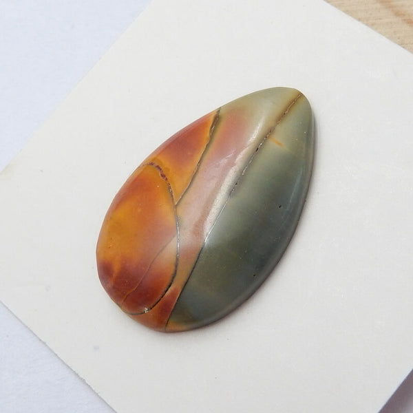 Natural Multi-Color Picasso jasper Teardrop Gemstone Cabochon, 24x15x4mm, 2.12g - MyGemGarden