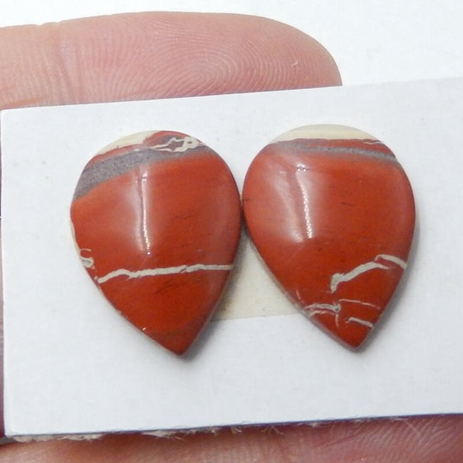 Natural Red River Jasper Teardrop Gemstone Cabochons Pairs, 16x12x4mm, 2.4g - MyGemGarden