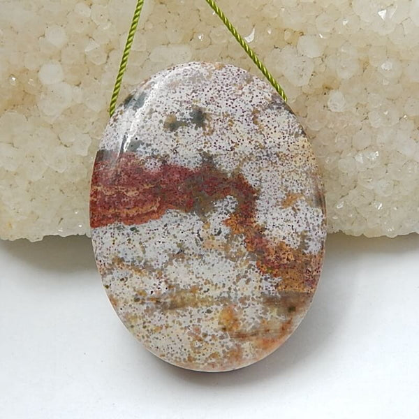 Natural Ocean Jasper Drilled Oval Pendant Bead, 40x30x9mm, 20.4g - MyGemGarden