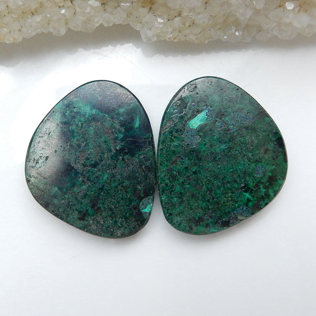 Natural Malachite Gemstone Cabochon Pair, 30x25x5mm, 16.2g - MyGemGarden
