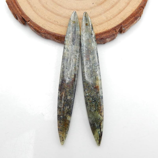 Long Marquise Green Kyanite Earrings Stone Pair, stone for earrings making, 55x8x4mm, 6.8g