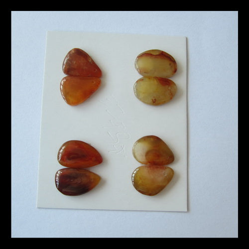 8 pcs Red Agate Cabochon Pair 16x11x3mm,7.5g - MyGemGarden