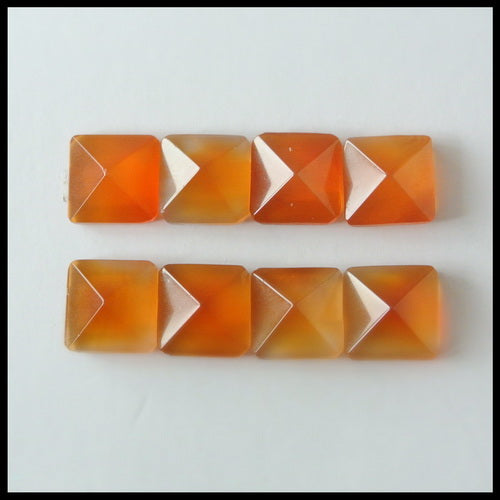 8PCS Natural Red Agate Pyramid Gemstone Cabochon 10x6mm,6.65g - MyGemGarden