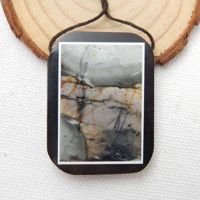 Natural Black Stone And Picasso Jasper Drilled Glued Pendant Bead, 41x31x5mm, 16.3g - MyGemGarden