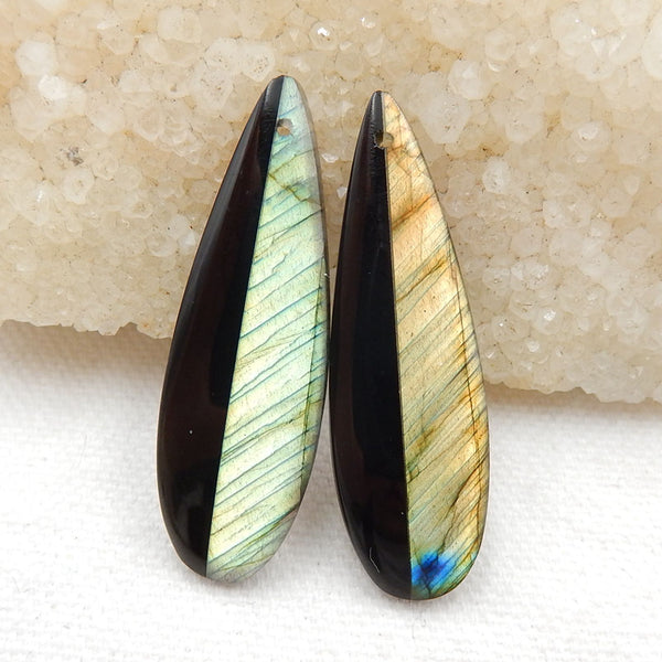 Obsidian And Labradorite Glued Teartrop Gemstone Earrings Stone Pair, 42x13x4mm, 7.4g - MyGemGarden