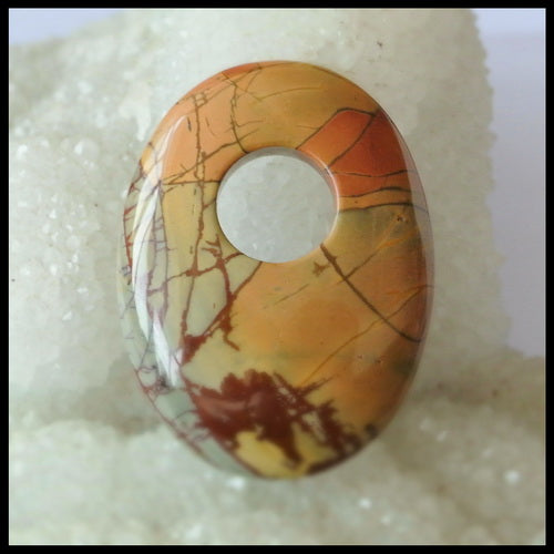 Natural Multi-Color Picasso Jasper Gemstone Pendant Bead, Big hole pendant, 39x29x7mm, 12.4g - MyGemGarden
