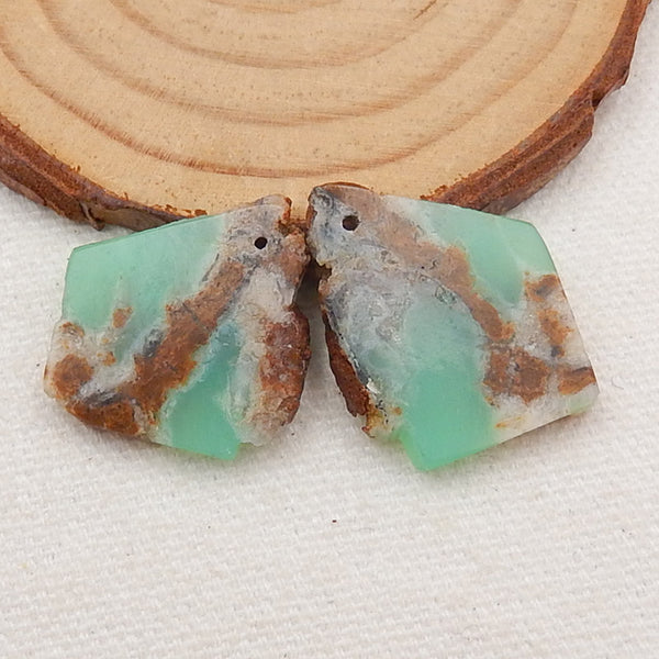 Nugget Chrysoprase Earrings Stone Pair, stone for earrings making, 24x19x3mm, 5.6g - MyGemGarden