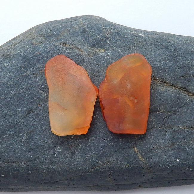 Natural nugget Red Agate Gemstone Cabochon Pair, 22x14x6mm, 4.9g - MyGemGarden