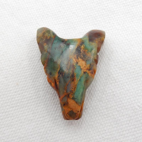 Carved Wolf head Green Opal Gemstone Pendant Stone, 35x27x14mm, 12.4g