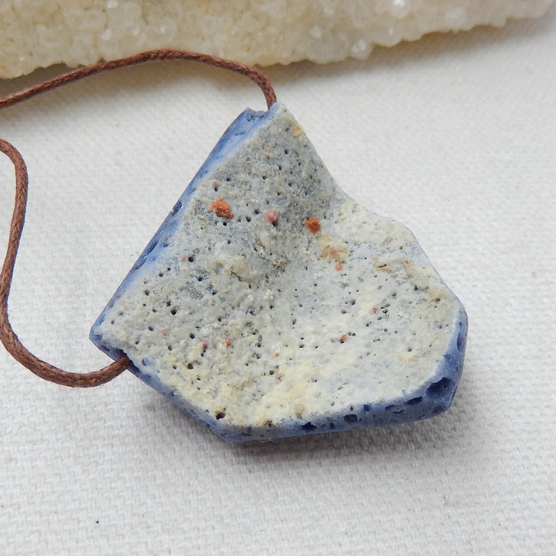 New, Blue Fossil Coral Gemstone Pendant, Nugget Pendant, 35x34x11mm, 18.3g - MyGemGarden