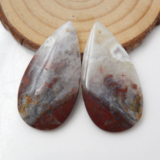 Crazy Lace Rosetta Stone Teardrop Earrings Stone Pair, stone for earrings making, 38x20x5mm, 11.3g - MyGemGarden