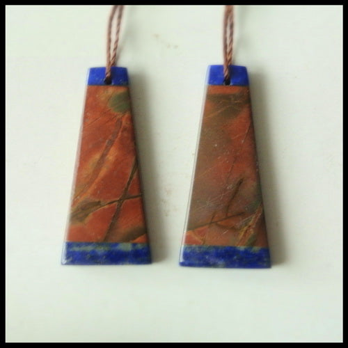 Lapis Lazuli And Multi-Color Picasso Jasper Gemstone Earrings Pair, 29x13x4mm, 4.63g - MyGemGarden