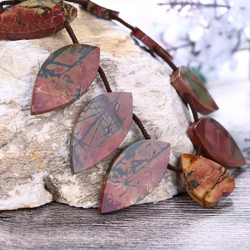 Natural Waterdrop Heart Shape Multi-Color Picasso Jasper Gemstone Necklace 38x19x4mm, 20x9x4mm - MyGemGarden