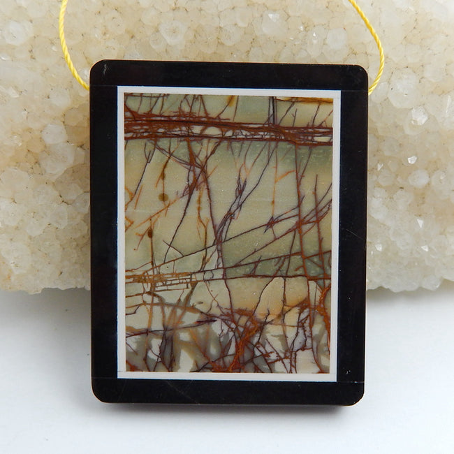 Natural Black Stone And Multi-Color Picasso jasper Drilled Rectangle Glued Pendant Bead, 47x28x6mm, 26.8g - MyGemGarden