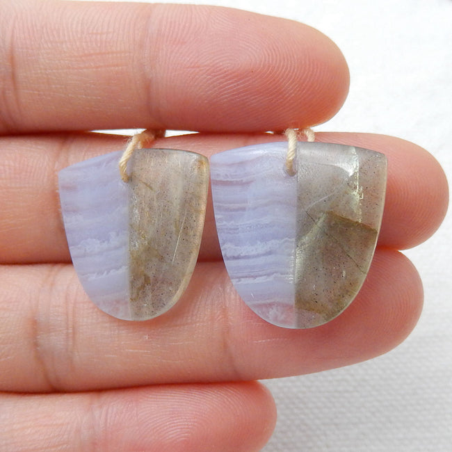 Labradorite and Blue Lace Agate Glued Earrings Stone Pair, 19x19x4mm, 5g - MyGemGarden