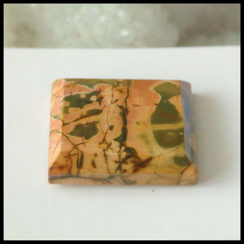 Natural Multi-Color Picasso Jasper Gemstone Cabochon, 20x4 mm, 4.5g - MyGemGarden