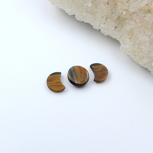 3 Pcs Natural Tiger's Eye Cabochon Set 9x7x2mm,9x4mm,1g - MyGemGarden