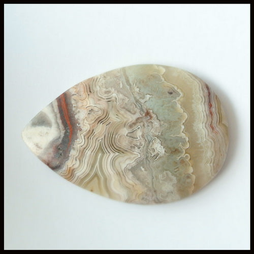 Natural Crazy Lace Agate Gemstone Cabochon 39x26x4mm,7.75g - MyGemGarden