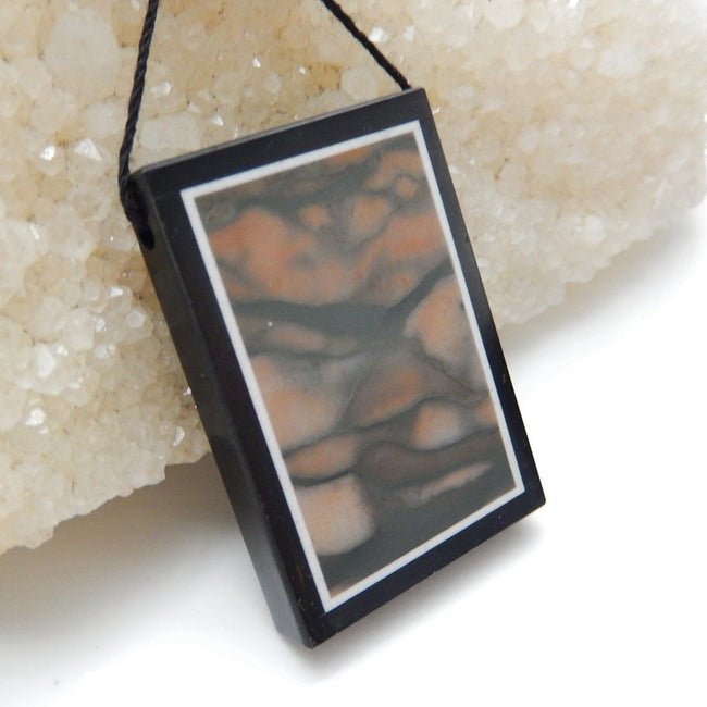 Natural Black Stone And Red Zabra Jasper Drilled Rectangle Glued Pendant Bead, 37x27x5mm, 13.2g - MyGemGarden