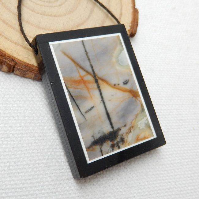 Natural Black Stone And Picasso Jasper Drilled Glued Pendant Bead, 40x30x6mm, 18g - MyGemGarden