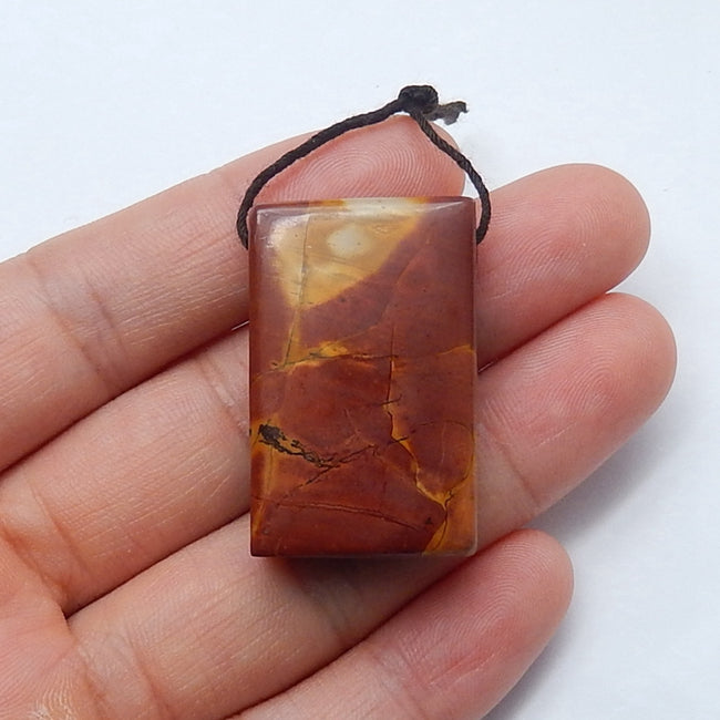 Natural Multi-Color Picasso jasper Drilled Rectangle Gemstone Pendant Bead, 33x20x10mm, 13.9g - MyGemGarden