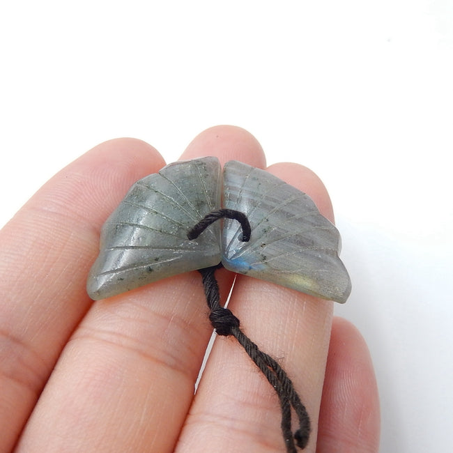 Hot sale Labradorite Carved leaf Earrings Pair, 26x16x5mm, 4.8g - MyGemGarden