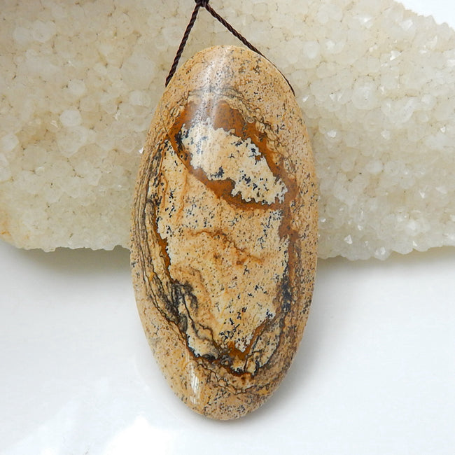 Natural Picture Jasper Drilled Gemstone Pendant Bead, 62x32x14mm, 34.5g - MyGemGarden