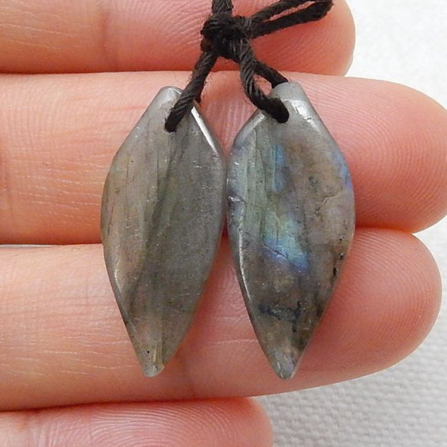 Labradorite Carved Leaf Earrings Stone Pair, 23x10x3mm, 2.6g - MyGemGarden