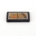Natural Black Stone And Multicolor Picasso jasper Drilled Glued Rectangle Pendant Bead, 44x30x5mm, 16.7g - MyGemGarden