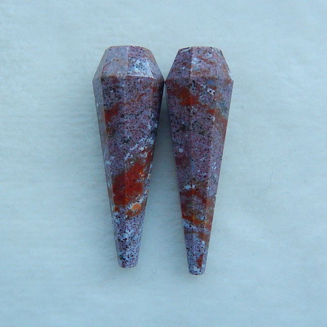 Natural Carved Ocean Jasper  Cabochon Pairs£¨Can Drill),43x13mm,15.1g - MyGemGarden