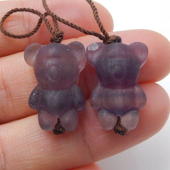 Carved Bear Fluorite Earrings, 18x13x9mm, 7.1g - MyGemGarden