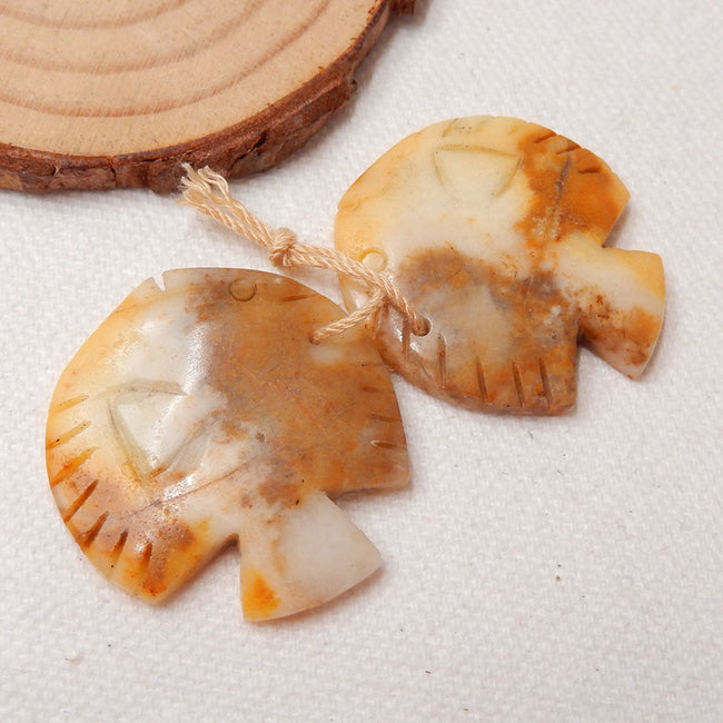 Amazonite Carved Fish Earrings Stone Pair, 31x29x4mm, 12.3g - MyGemGarden