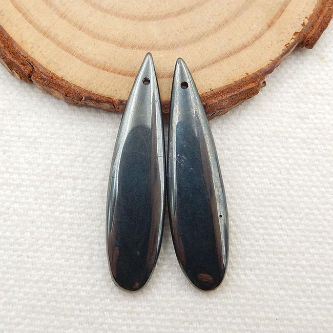 Hematite Teardrop Earrings Stone Pair, stone for earrings making, 36x9x4mm, 6.9g - MyGemGarden