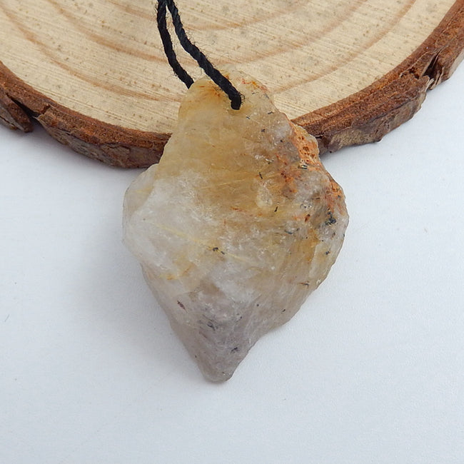 Natural Gold Rutilated Quartz Gemstone Pendant Bead, 29x20x11mm, 6.3g - MyGemGarden