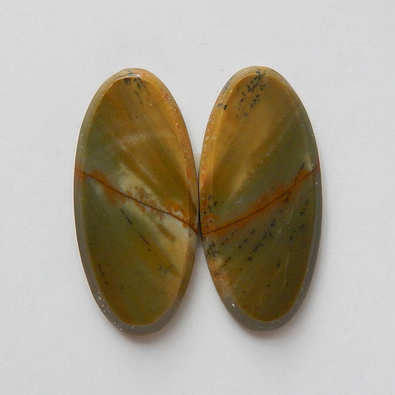Natural Multi-Color Picasso jasper Oval Gemstone Cabochon Pair, 22x10x3mm, 2.6g - MyGemGarden