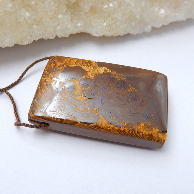 Natural Boulder opal Drilled Rectangle Gemstone Pendant Bead, 40x26x10mm, 22g - MyGemGarden