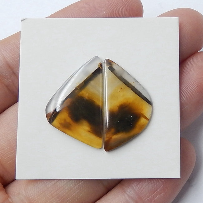 Natural Agate Cabochon Pair, 22x13x2mm, 2.1g - MyGemGarden