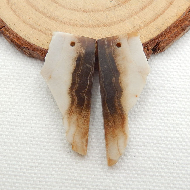 Nugget Wood Fossil Earrings Stone Pair, stone for earrings making, 30x13x3mm, 3.8g - MyGemGarden