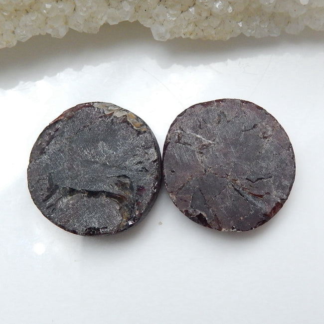 Natural Tourmaline Gemstone Cabochon Pair, 22mm round cabochons, 22x22x5mm, 13.4g - MyGemGarden