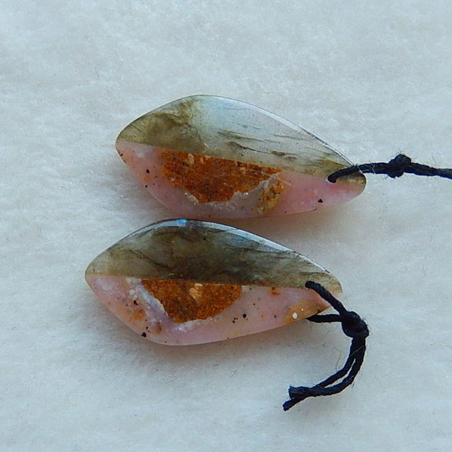 Natural Pink Opal And Labradorite Glued Gemstone Earrings Pair,30x15x3mm,4.3g - MyGemGarden
