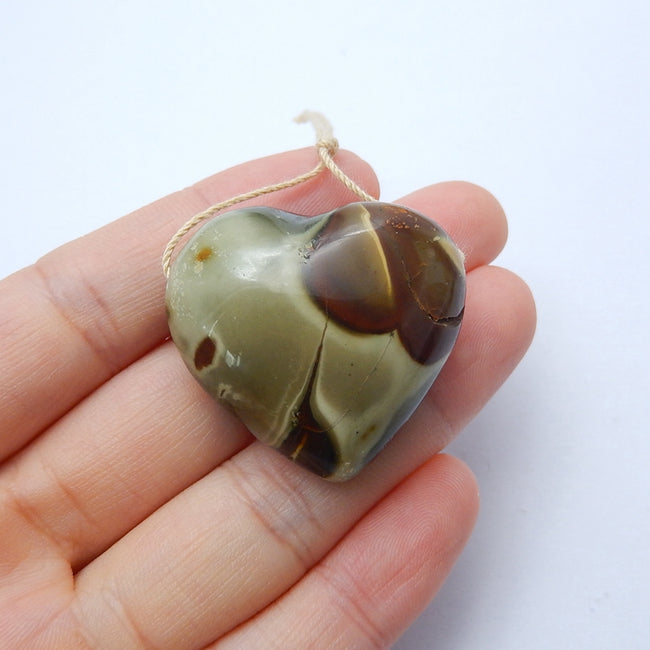 New design Ocean Jasper Drilled Heart Gemstone Pendant Bead, 34x30x17mm, 20.8g - MyGemGarden