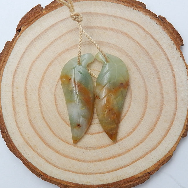 Hot sale Amazonite Carved leaf Earrings Pair, 30x11x4mm, 3.4g - MyGemGarden