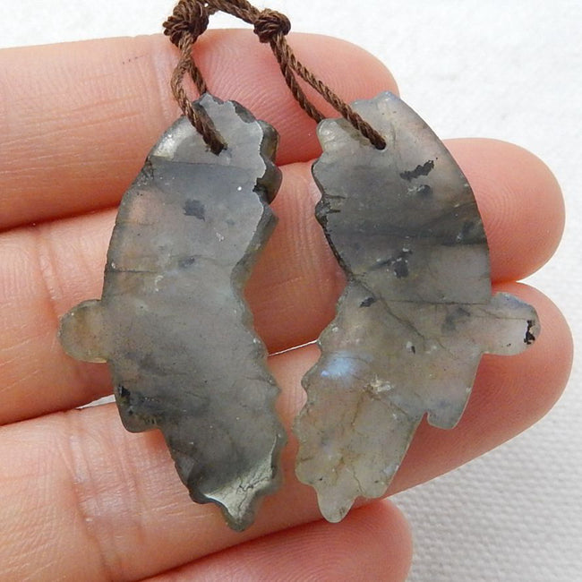 Labradorite Carved Butterfly Earrings Stone Pair, 34x16x5mm, 7.7g - MyGemGarden