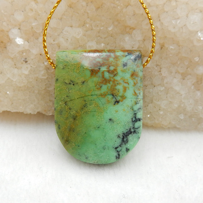 Green Turquoise Side Drilled Pendant Stone, 32x24x11mm, 13.9g