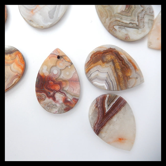 1 Piece Teardrop Drilled Crazy Lace Agate Pendant Stone, 29x19x4mm, 3.6g - MyGemGarden