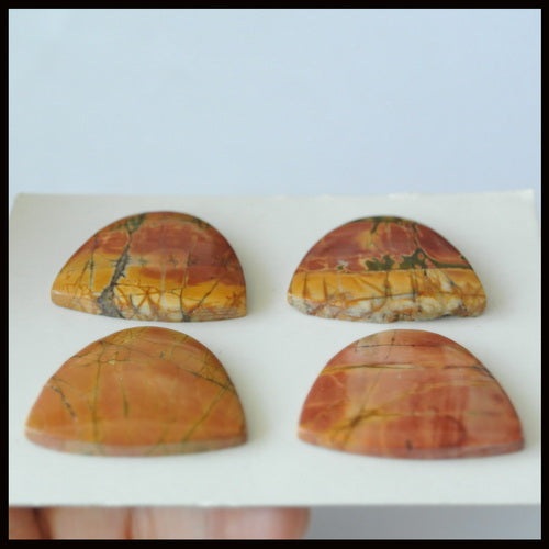 4 pcs Natural Multi-Color Picasso Jasper Gemstone Cabochon Pair 33x27x4mm,33x27x5mm,23.5g - MyGemGarden