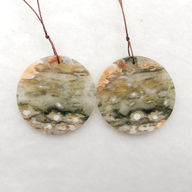 Round Ocean Jasper Earrings stone pair to make Earrings, 35x2.5mm, 11.1g